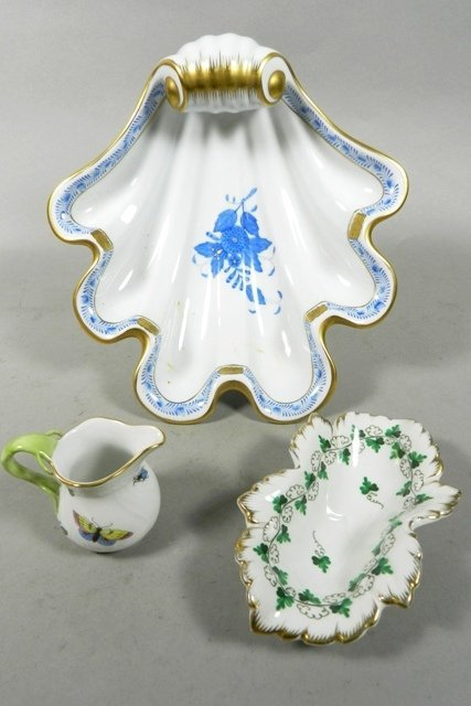 Herend Porcelain Shell Dish, Creamer, and Dish