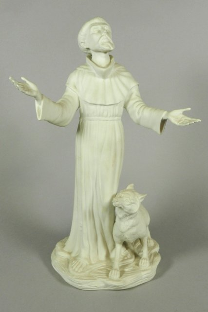 Boehm 'Saint Francis with brother wolf' Porcelain