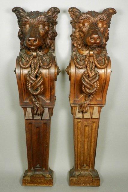 Pr. Highly Carved Dog Face Flat Back Columns