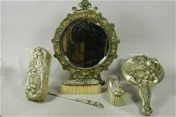 Early 20th C Art Nouveau Silverplated Vanity Set