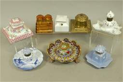 Collection of Porcelain Glass and Brass Inkwells 8