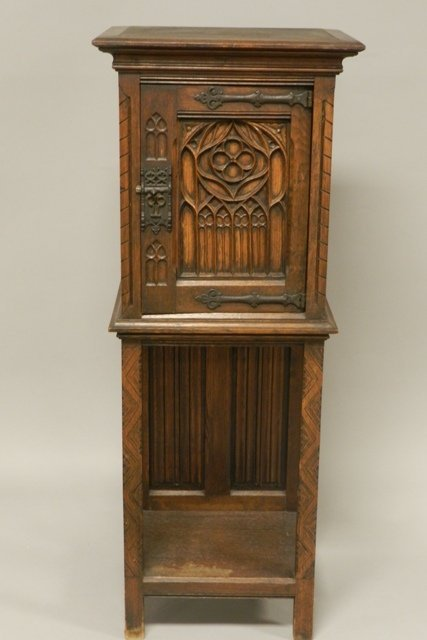 Carved Oak Gothic Church Prayer Cabinet
