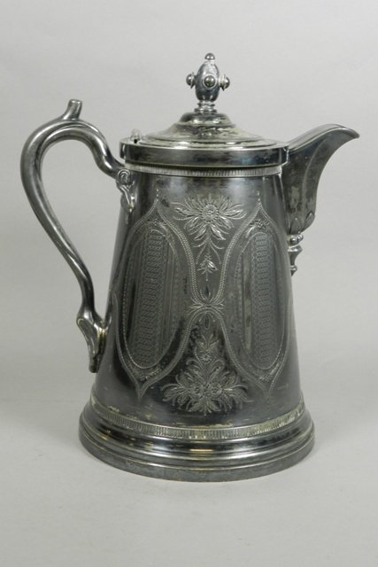 19th C. Silver Plate Water Pitcher