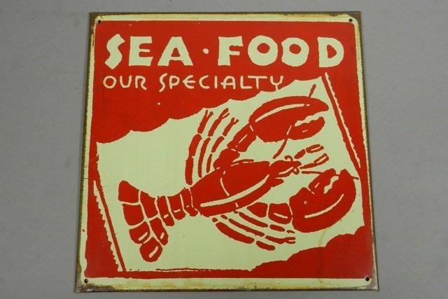 """Vintage """"Sea Food"""" Tin Advertisement Sign"""