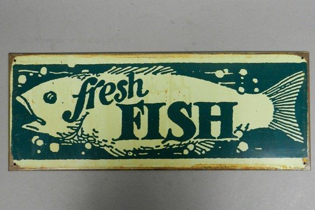 "Vintage ""Fresh Fish"" Tin Advertisement Sign"