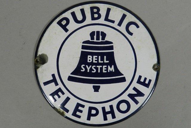 Bell System Public Telephone Porcelain Sign