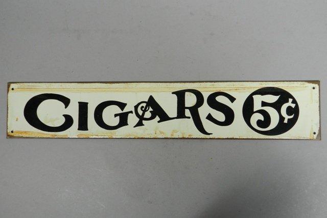 "Vintage ""Cigars"" Tin Advertisement Sign"