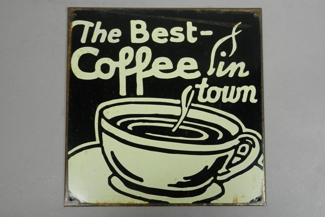 """Vintage """"The Best Coffee"""" Tin Advertisement Sign"""