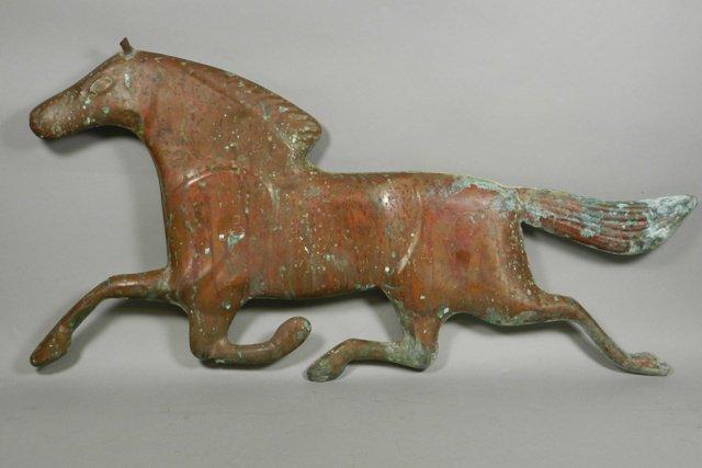 20th C. Molded Copper Horse Weathervane