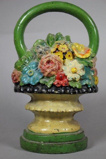 Antique Cast Iron Flower Basket Doorstop