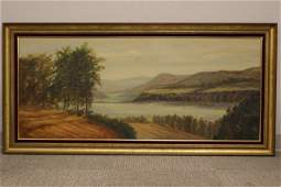 Artist Signed David, Hudson River Scene o/c Painting