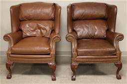 Pr Of Leather Chippendale Style Fire Side Chairs