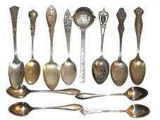 Twelve Vintage Sterling Souvenir State Spoons