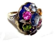 14K Gold Multi Colored Gemstone Cluster Ring