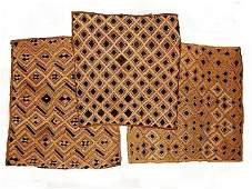 African Kuba Raffia Cloth Cut Pile Lot Of Three