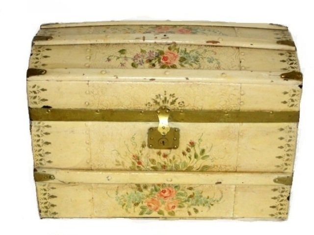 Vintage Child's Hump Back Decorated Trunk