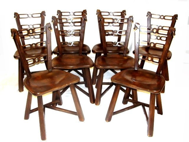 Viking Horse Head Chairs Poker Set