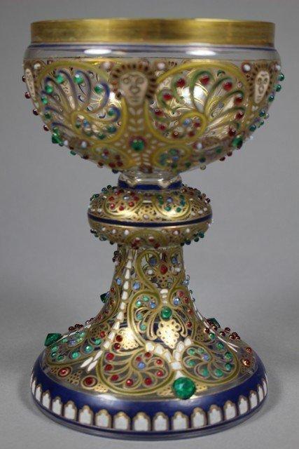 Fritz Heckert Finely Enameled and Jeweled Goblet