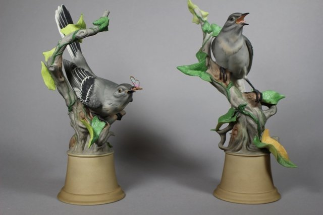Pair of Boehm Porcelain Mockingbirds #459 E