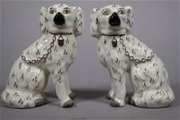 Pair of 19th C Staffordshire Ironstone Dog Figurines
