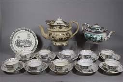Davenport Teapot and 19th C English Lustreware Lot