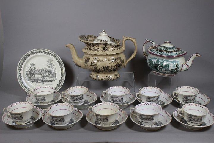 Davenport Teapot and 19th C. English Lustreware Lot