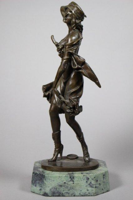 Armand Godard Bronze Figural On Marble Base