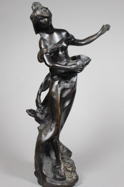 Neoclassical Bronze Statue Of Woman