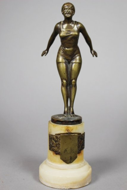 20th Century Bronze Swimming Trophy On Marble Base