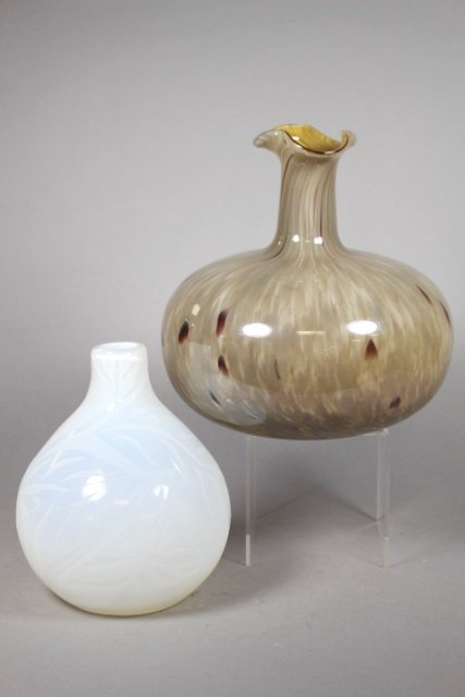 Two Contemporary Glass Vases