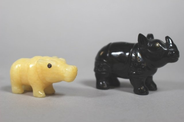 Russian Black Onyx Rhino And Amethyst Hippo Figures