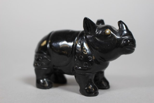 Russian Black Onyx Rhino And Amethyst Hippo Figures - 2