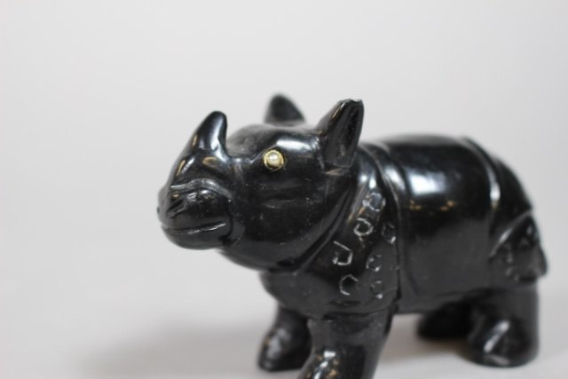 Russian Black Onyx Rhino And Amethyst Hippo Figures - 4