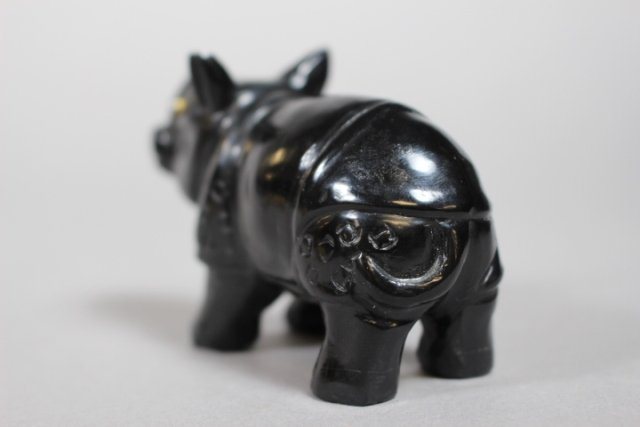 Russian Black Onyx Rhino And Amethyst Hippo Figures - 5