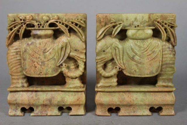 Pair Of Chinese Soapstone Carved Bookends