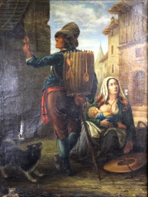 19th Century Dutch Oil on Canvas Signed and Dated - 2