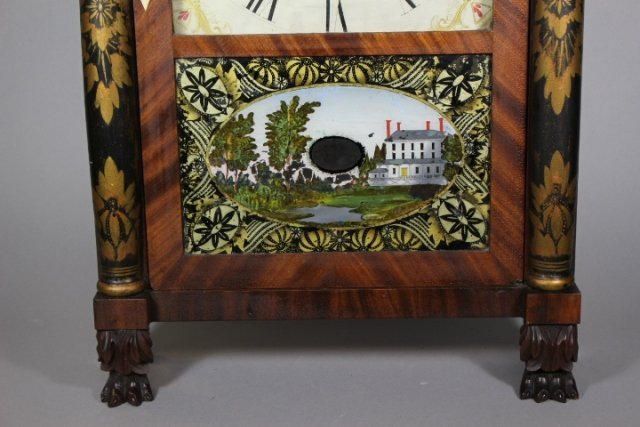 Eli Terry Empire Shelf Clock With Wood Works - 3