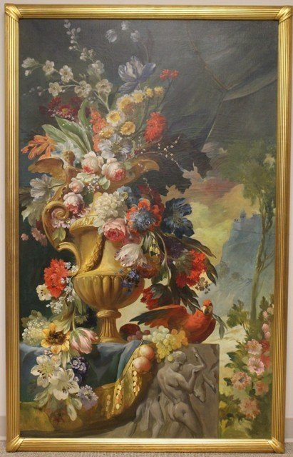 Large Neoclassical Floral Still Life Oil on Canvas