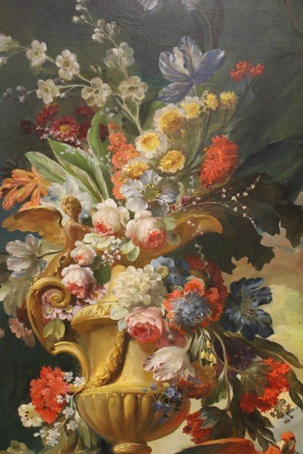 Large Neoclassical Floral Still Life Oil on Canvas - 2
