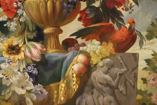 Large Neoclassical Floral Still Life Oil on Canvas - 3