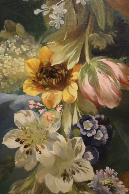 Large Neoclassical Floral Still Life Oil on Canvas - 6