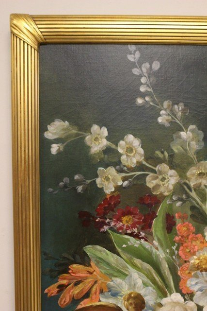Large Neoclassical Floral Still Life Oil on Canvas - 7