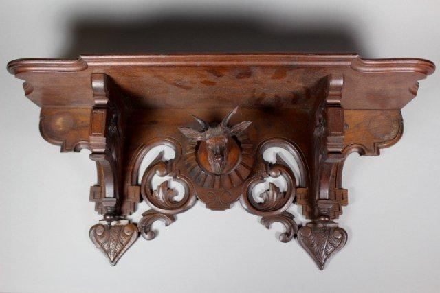 Victorian Hanging Black Walnut Shelf With Stag Head