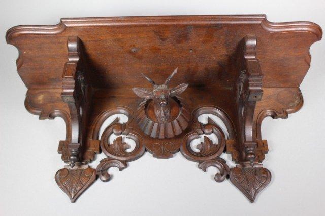 Victorian Hanging Black Walnut Shelf With Stag Head - 2