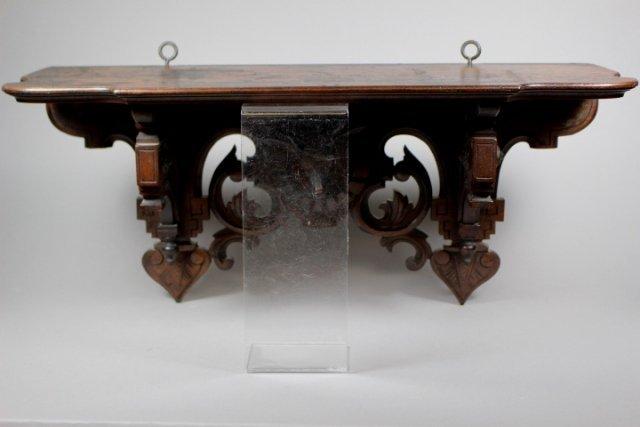 Victorian Hanging Black Walnut Shelf With Stag Head - 3