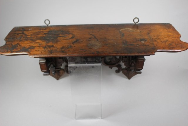 Victorian Hanging Black Walnut Shelf With Stag Head - 4