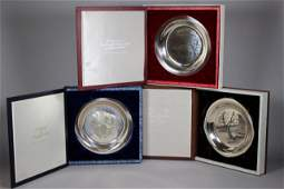3 Sterling Silver Collector Plates