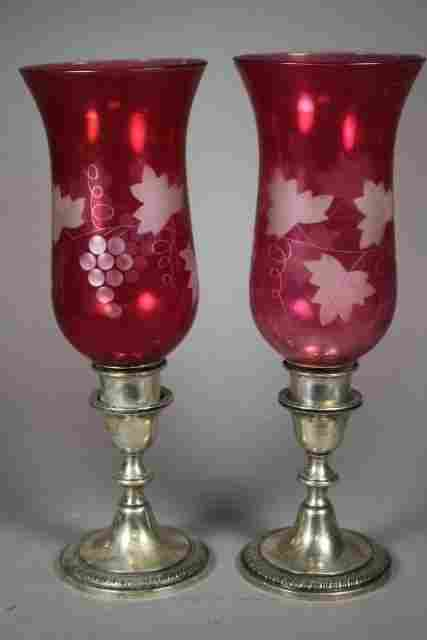 Pair of Weighted Sterling and Cranberry Glass