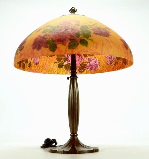Signed Handel 7105 S Reverse Painted Lamp - 5