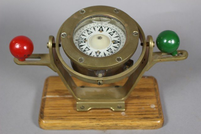 Bergen Nautik Vintage Brass Ship's Binnacle Compass